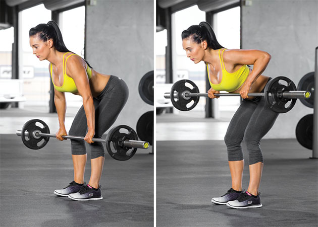 hot girl doing barbell rows