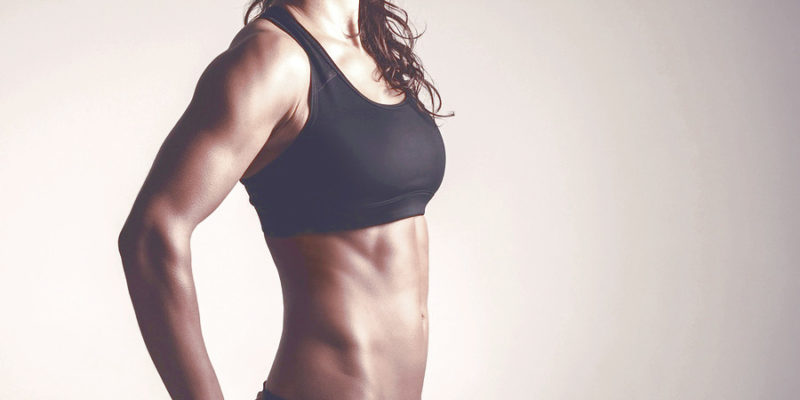 toned woman from doing at home abs workouts