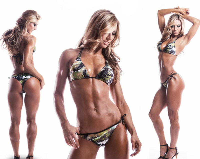 callie bundy posing in 3 different pictures put into one, so you can see every aspect of her figure in a bikini.