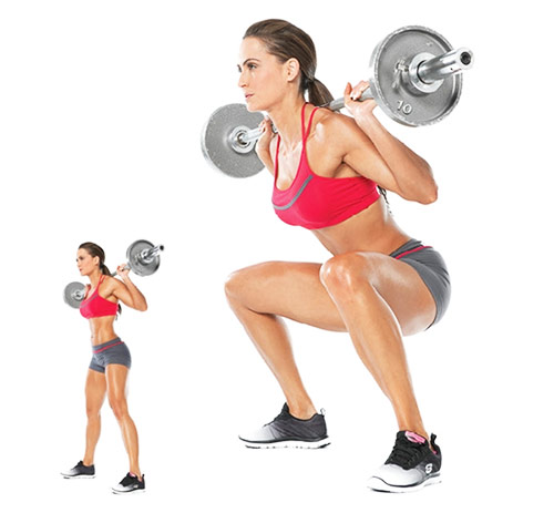 female squatting to tone up and lose weight