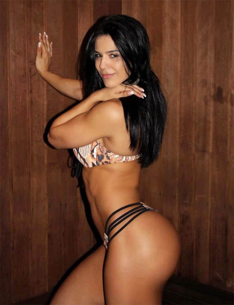 Eva Andressa leaning against a wooden wall in a bikini, in a seductive pose looking at the camera.