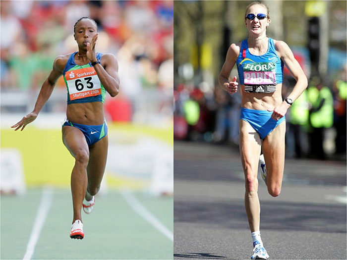 running vs sprinting woman weightlifting