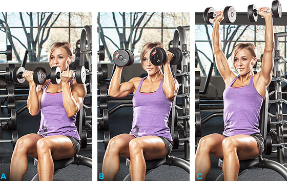 a girl performing the arnold press to tone up and lose weight
