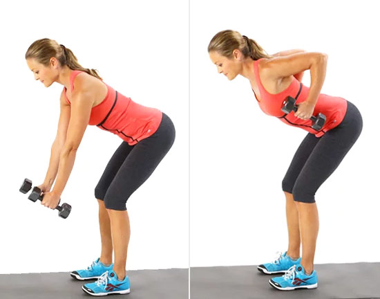 a girl performing bent over rows to get rid of her flabby arms