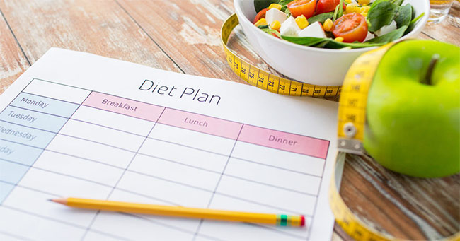 a picture of a diet plan with breakfast lunch and dinner being planned out for the week