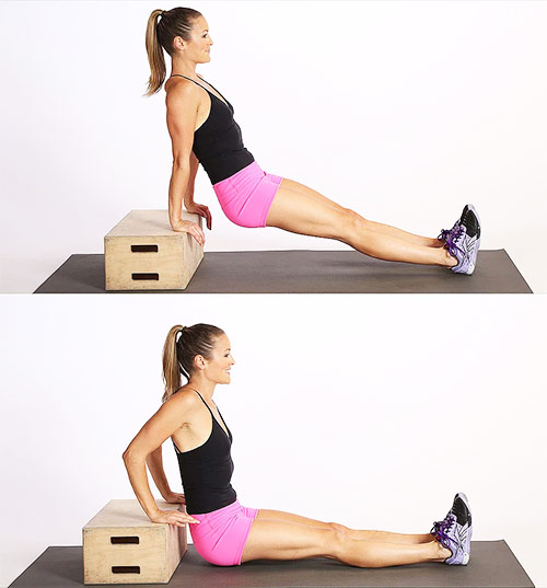 a girl performing tricep dips to get rid of her flabby arms