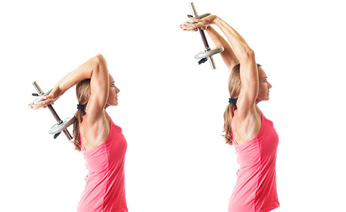 a girl performing tricep extensions to get rid of her flabby arms
