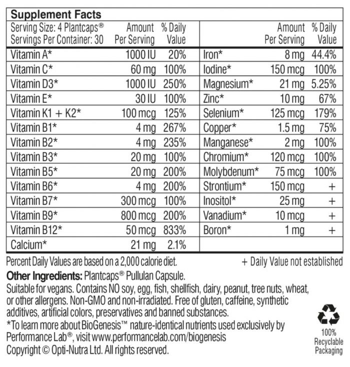 performance lab whole-food multi for women supplement facts
