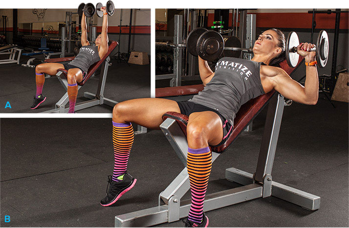 woman doing incline dumbbell press