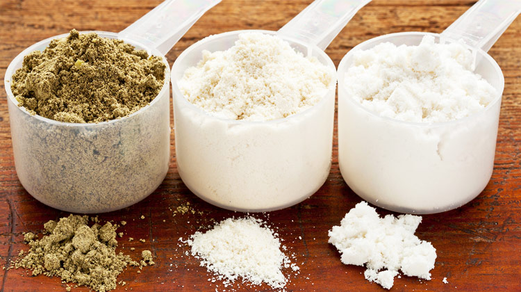 three different types of protein powder for womens health and weight gain