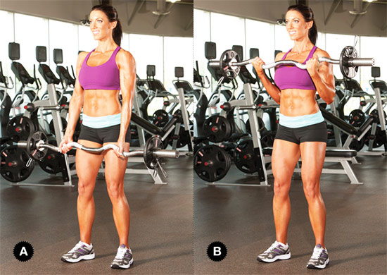 a female performing ez barbell curls as part of her bicep workout in the gym
