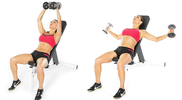 a female perfoming incline dumbbell flys to lift her boobs naturally with exercise