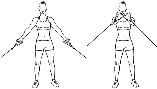 female performing low cable crossovers to help lift her boobs naturally with exercise