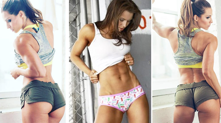 Jelena Abbou posing in 3 photos with her ass abs and arms showing