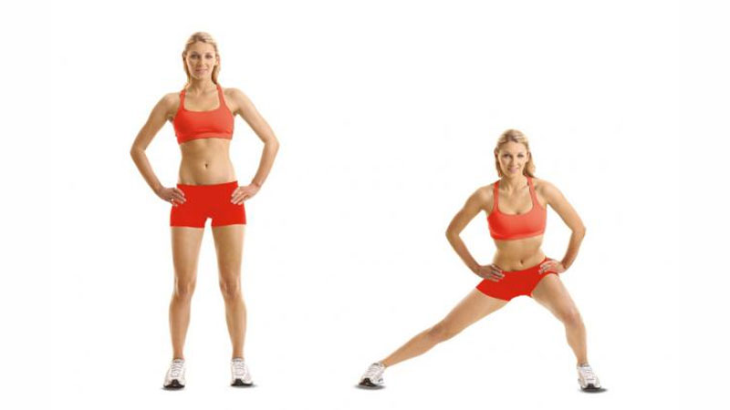 Young female building a booty with lateral lunges