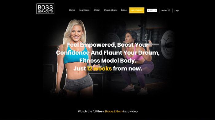 Boss Shape & Burn 12 week transformation plan page