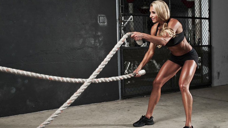 Train like a woman with battle ropes