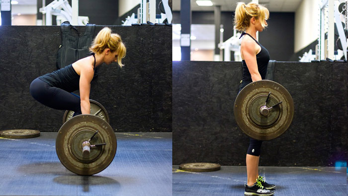 woman performs deadlift sequence