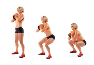 Goblet squat technique with kettlebell