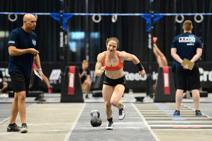 professional female CrossFit athlete Kari Pearce runs during CrossFit games