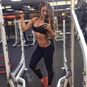 Paige hathaway using squat rack