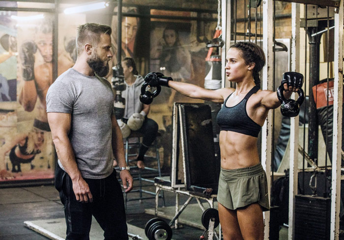 Alicia Vikander Workout and Diet Training For Tomb Raider Movie Lat Raise