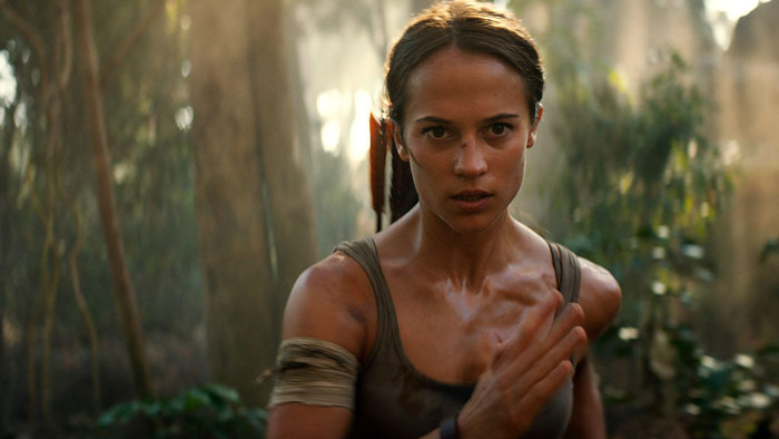 Alicia Vikander running as Lara Croft in Tomb Raider movie