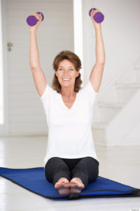 Older adult following exercise plan and Mediterranean diet