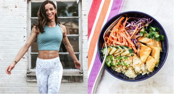 vegan femal athleet with an image of vegan food
