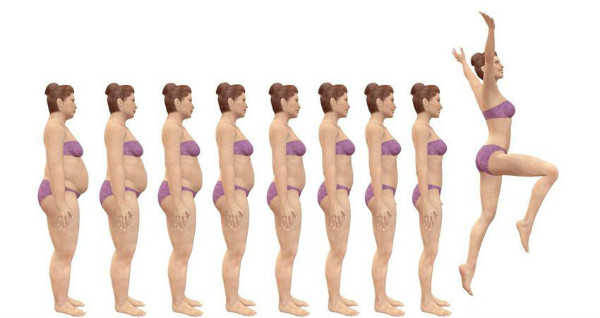 woman losing weight evolution