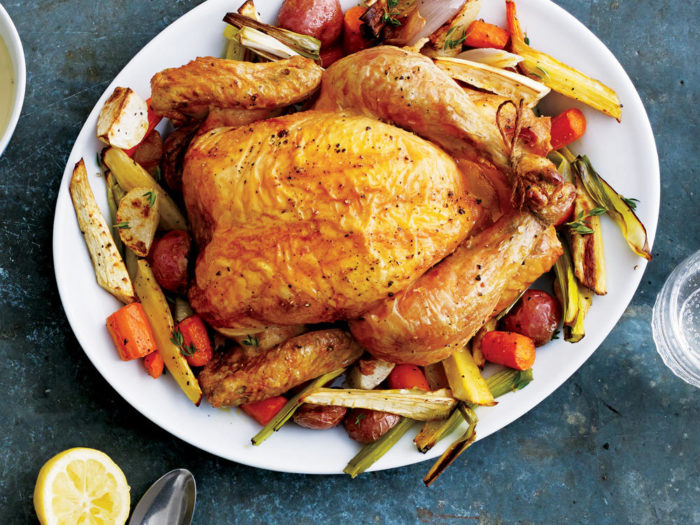 High protein chicken on a bed of vegetables