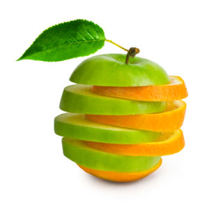 image comparing apples into oranges to show how fat and muscle are different