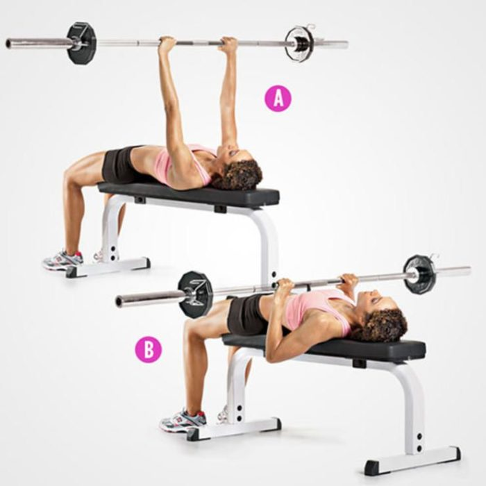 close grip bench press as part of a triceps workout for women