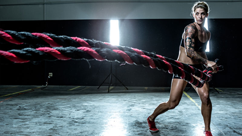 Battle ropes metcon workout