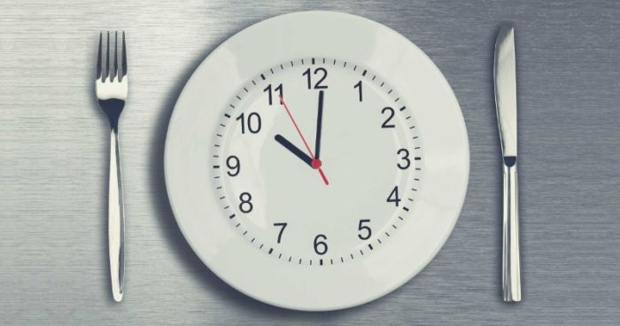 clock on a plate indicating the anabolic window