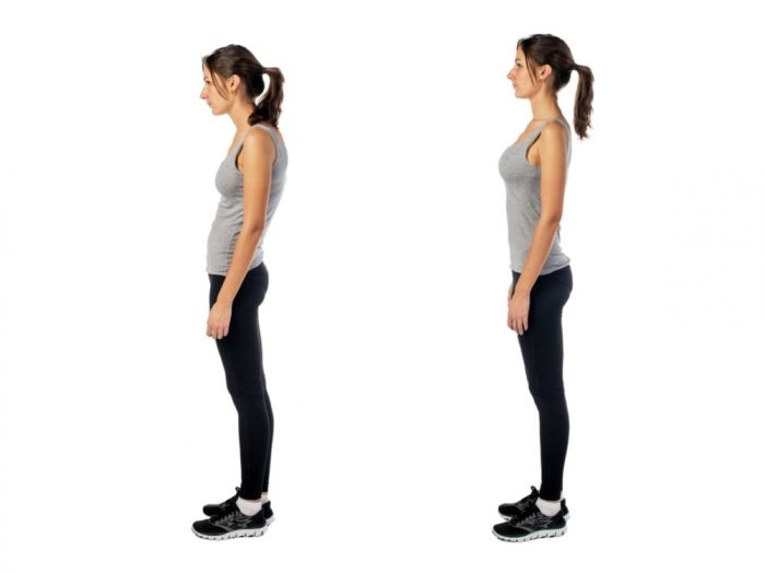 A before and after of a woman with bad posture, then corrected posture