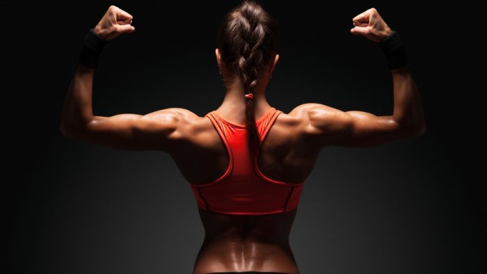 Woman with a muscular back