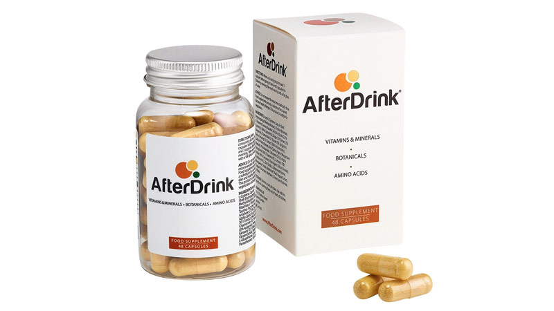 AfterDrink product image showing a box, bottle, and capsules