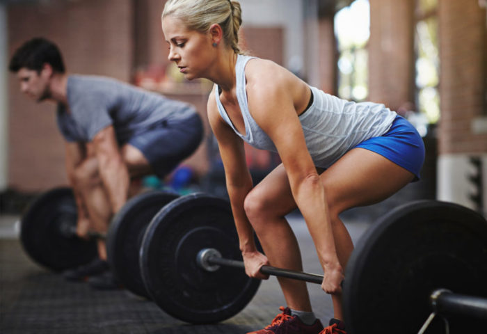 woman about to deadlift