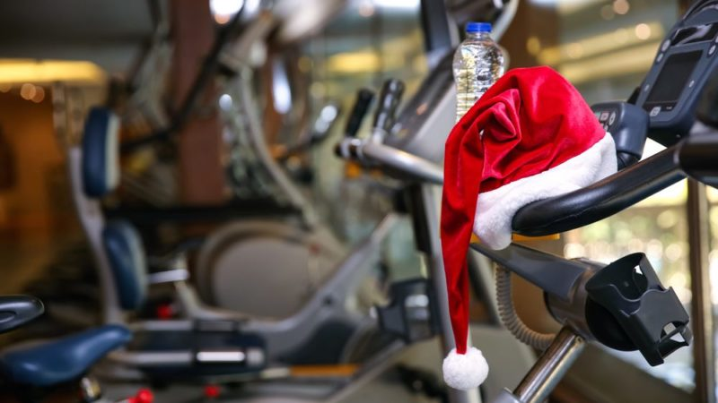 santa hat on a running machine