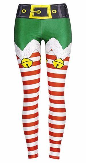 pair of elf themed festive exercise leggings