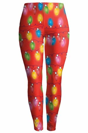 Red exercise leggings with christmas lanterns on them