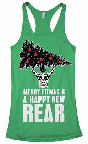 "Womens christmas these fitness tank saying ""merry fitness and a happy new rear"""