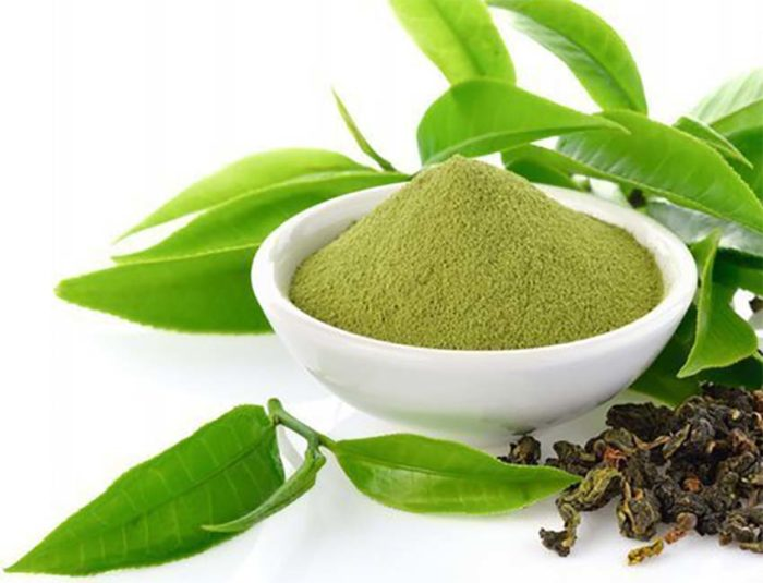 green tea powder and coffee