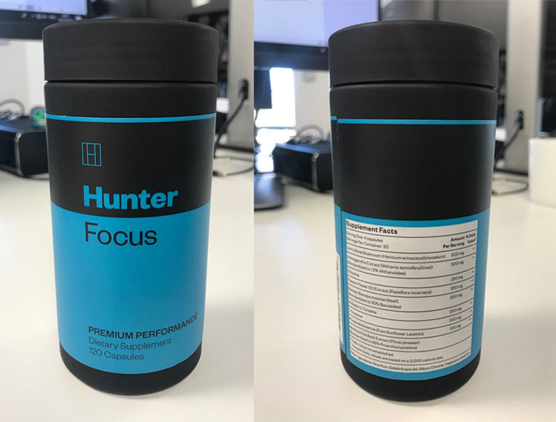 the front and back of a Hunter Focus bottle