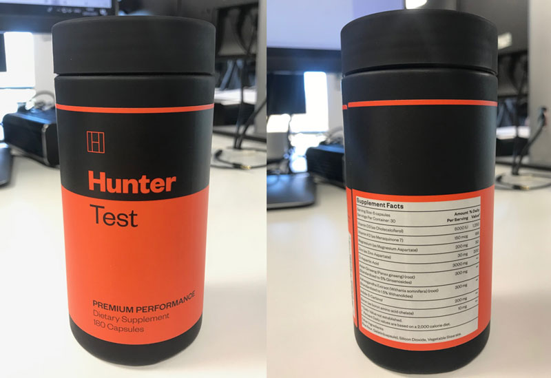 hunter test labels back and front