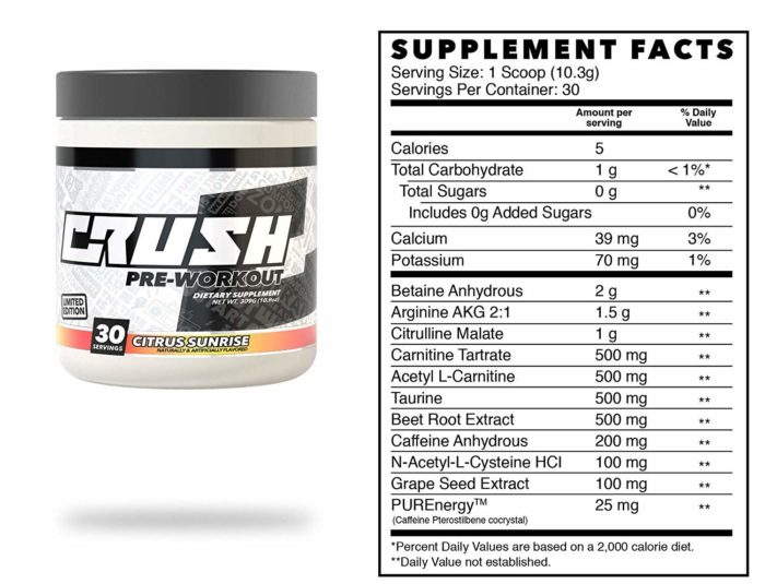crush pre-workout label and packaging