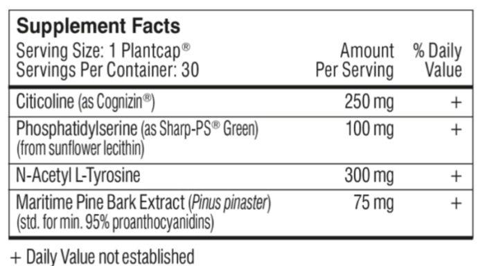 performance lab mind ingredients label