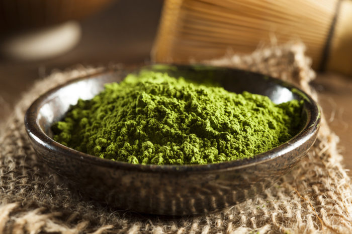 bowl of matcha powder
