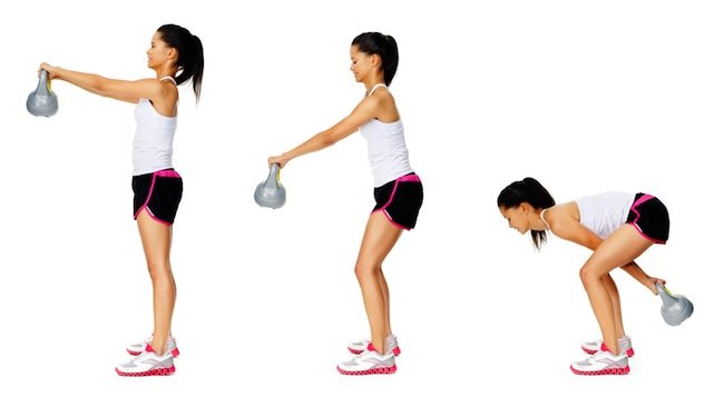Woman kettlebell swing